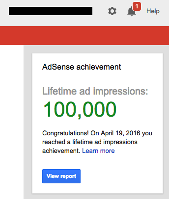 AdSense Impression Achievement Alert For IndiaSpeaksDaily News portal
