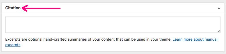 Changed Excerpt box label into citation label in WordPress admin