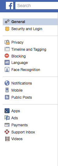 Facebook account setting page