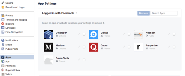 Logged in with FacebookApps listing page